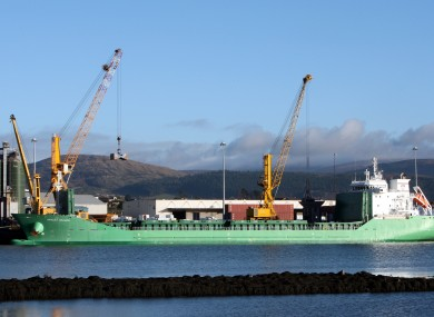 The MV Arklow Meadow, which remains cordoned off at Warrenpoint harbour in Co Down
