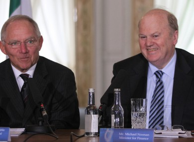 Wolfgang Schaeuble with Michael Noonan in Farmleigh House in Dublin in October