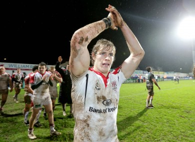 Andrew Trimble salutes the Ulster fans.