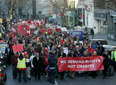 The protest against disability cuts last year.