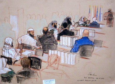 A courtroom sketch drawn on Monday shows five 9/11 attend a hearing on pre-trial motions at the Guantanamo Bay US Naval Base in Cuba.