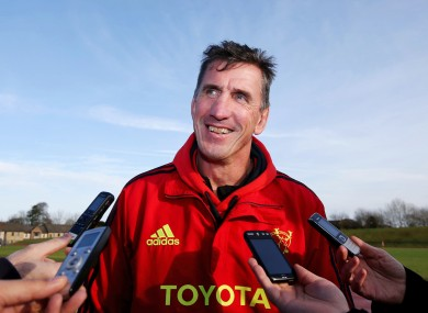 Munster coach Rob Penney faces the media this week.