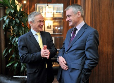 Jobs minister Richard Bruton, pictured with Omnipay chief executive Hubert O'Donoghue at this morning's annoucnement.