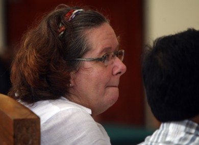 Lindsay June Sandiford of Britain sits at a courthouse during her trial in Denpasar, Bali island, Indonesia