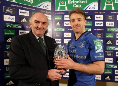 Leinster's Luke Fitzgerald receives the Heineken Man of the Match award from Pat Maher of Heineken.