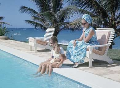Undated file photo of Princess Grace of Monaco, with Prince Albert and Princess Stephanie, during a vacation.