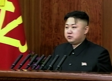 Kim Jong-un, seen here making a televised New Year's address, marks his birthday today. He was born in either 1982, 1983 or 1984.