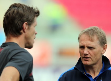 Simon Easterby and Joe Schmidt chat before an October encounter.