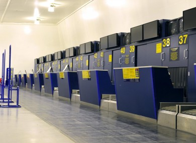 Empty Ryanair check-in desks at East Midlands Airport during the volcanic eruption in 2010.