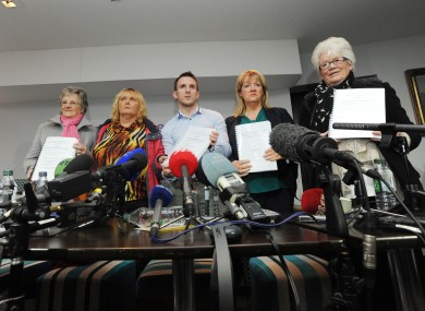 Members of the Magdalene Survivors Together group speak to reporters after the publication of the McAleese report last week