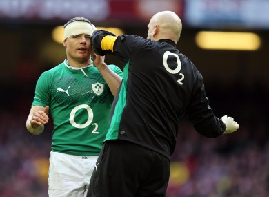 Brian O'Driscoll gets patched up against Wales.