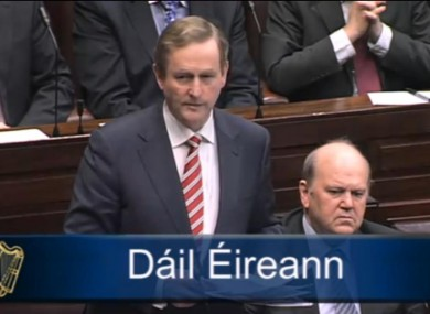 Taoiseach and Fine Gael leader Enda Kenny speaking today in the Dáil