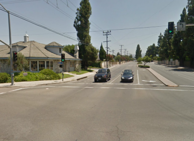 The busy junction in a residential area in Tustin, California, where the gunman took his own life.