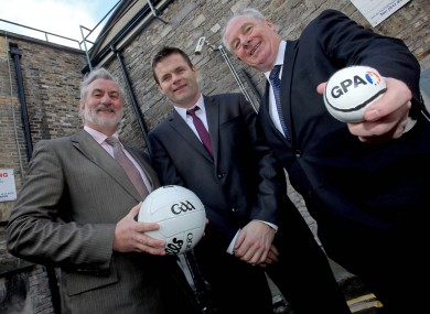 Irish Sports Council chairman Kieran Mulvey, President of the Gaelic Players Association Dessie Farrell and Michael Ring TD, Minister of State for Transport, Tourism & Sport.