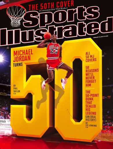 Michael Jordan turns 50 this Sunday — so he's on the Sports Illustrated cover for the 50th time