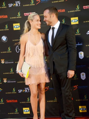 Reeva Steenkamp and Oscar Pistorius at an event in South Africa last November.