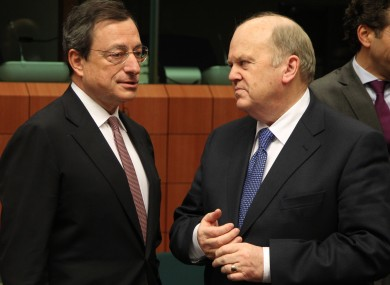 Mario Draghi and Michael Noonan pictured in November 2012