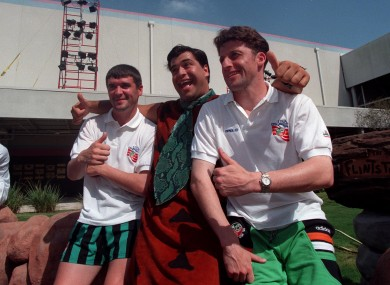 Roy Keane and Andy Townsend discuss neck ties with Fred Flintstone at USA 94.