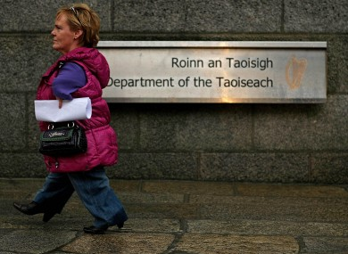 Maggie Woods, chairperson of the Irish Thalidomide Association, outside Government Buildings, Dublin.