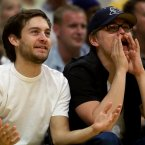 TOBEY MAGUIRE AND LEONARDO DICAPRIO:  These two became mates from meeting each other at auditions, and made a pact to try to help each other get parts in things they were cast in.  Thus, they are often seen in each other's film/television work.  Isn't that sweet! AP Photo/Kevork Djansezian