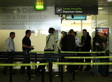 File photo of passengers at Departures in Dublin Airport.