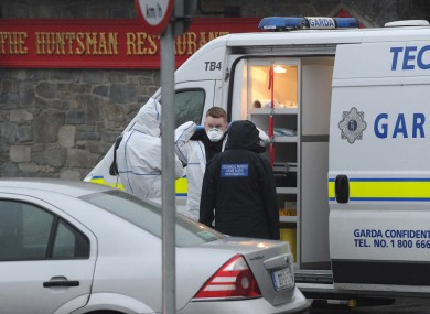 Gardaí at the scene of a fatal shooting at the Huntsman Inn near Gormanstown Co Meath this afternoon.