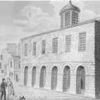 The Tholsel once stood on Shop Street in Galway city. Construction started on the building in 1639 and it was demolished around 1822. (Image: Archiseek.com)