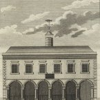 The Limerick City Exchange was built in 1673, close to St. Mary's Cathedral to house the city's covered market and council chamber. In 1702, the Exchange was demolished and replaced by a new larger building to allow for the development of wider streets in the city. During the mid-1800s, the Exchange fell into disuse after a new town hall was constructed across the bridge in Rutland Street. All that remains of the Exchange now is a row of Tuscan columns in the wall surrounding St. Mary's graveyard. (Image: Archiseek.com)