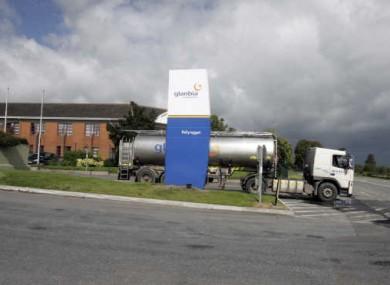 Glanbia truck leaving the Glanbia food processing facility in Ballyragget, Co Kilkenny.