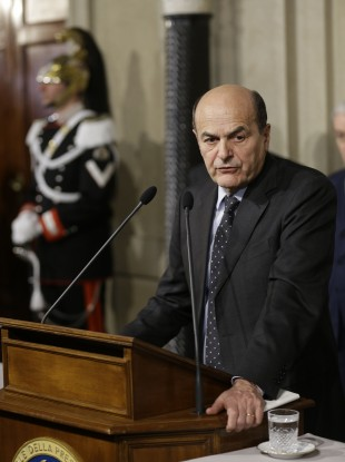 Pier Luigi Bersani speaking to reporters in Rome today.