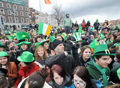 People attend the Patrick's Day parade in Dublin last year