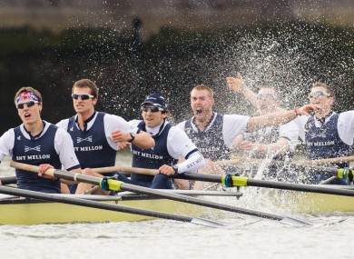 Oxford celebrate victory over Cambridge in the 159th Boat Race on the River Thames.