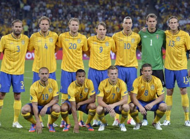 The Swedish team which started against France at Euro 2012.