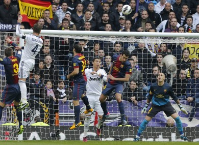 Ramos leaps highest to score the winning goal on Saturday.