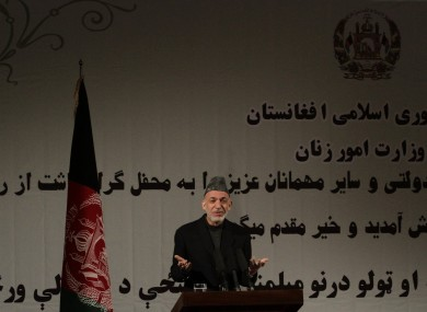 Afghan president Hamid Karzai speaks during a nationally tel