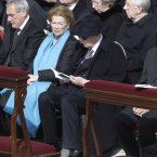 Italian President Giorgio Napolitano sits beside his wife Clio and President of the Italian Senate Pietro Grasso as they attend Pope Francis' installation Mass. (AP Photo/Andrew Medichini)