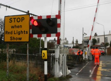 File image of a disruption at the Merrion Gates level crossing.