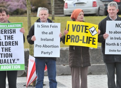 Anti-abortion protesters at last weekend's Sinn Féin Ard Fheis