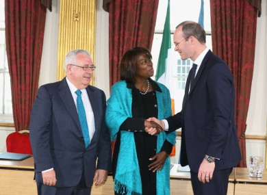 Junior Minister Joe Costello, UN WFP executive director Ertharin Cousin and Simon Coveney.