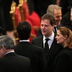 Deputy Prime Minister Nick Clegg attends the funeral. (Photo by Christopher Furlong/Getty Images)