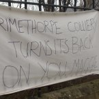 A banner in Grimethorpe, near Barnsley, South Yorkshire as the funeral of Baroness Thatcher takes place in London.