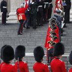 The coffin of Margaret Thatcher is carried aloft by members of the armed forces prior to her funeral at St Paul's Cathedral, central London. (Dave Thompson/PA Wire)