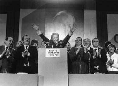 FF leader Charles Haughey at a Fianna Fáil Ard Fheis in the early 1980s