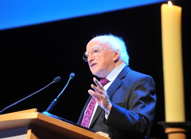 President Michael D Higgins speaking at the St Vincent de Paul conference at the Convention Centre today.
