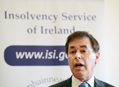 The Fine Gael Minister for Justice, Equality and Defence, Alan Shatter at the launch of the Insolvency Service Bill and Public Information Campaign yesterday.