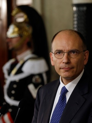 Enrico Letta speaking to the media outside Italian presidential palace in Rome today