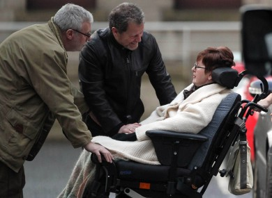 Marie Fleming (r) leaves the High Court in Dublin in January after losing her case