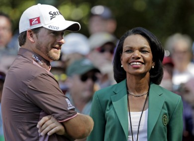 Graeme McDowell and Condoleezza Rice at the US Masters.