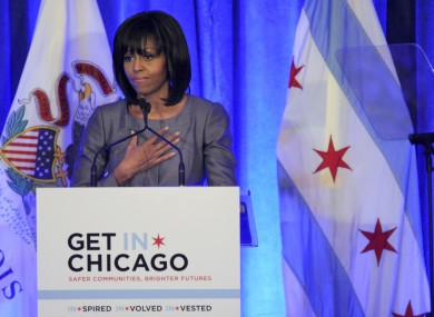 Michelle Obama speaking about gun violence in Chicago on Wednesday