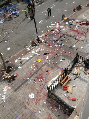 The scene after the two explosions
